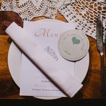 Dekoration, Hochzeit, Menükarte, Speisekarte, Platzkarte