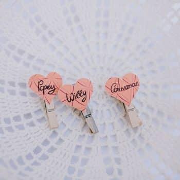 Namensschilder anstecken Hochzeit Herz